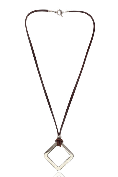 Men's Brown/Tan Pure  Leather Necklace With Stainless Steel Diamond Shape  Pendant, Men Chain and Pendant, Svvelte - Svvelte