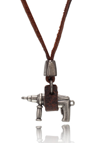 Buy Men Chain and Pendant, Named Men's Brown/Tan Pure Leather Adjustable Necklace With Stainless Steel Gun Design Pendant, from Svvelte, for Rs. 19.99
