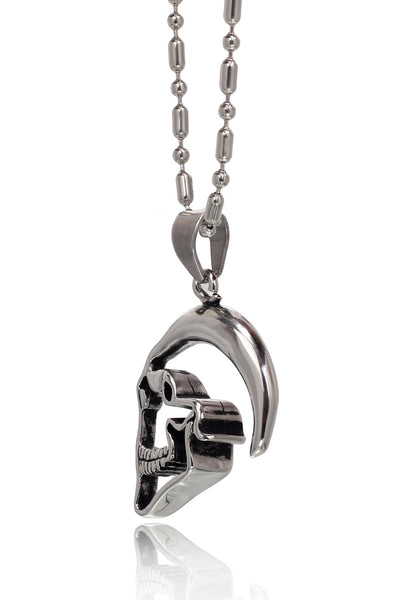 Stainless Steel Men's Military Link Chain with  a unique Shining ghostly skull face Pendant, Men Chain and Pendant, Svvelte - Svvelte