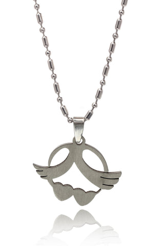 Buy Men Chain and Pendant, Named Stainless Steel Men's Military Link Chain and two Hearts with Wings Pendant, from Svvelte, for Rs. 18.99
