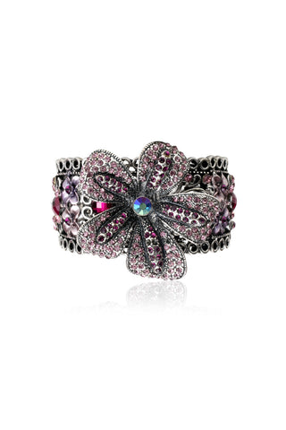 Svvelte Pink and Purple Floral Women Bracelet with Swarovski, Women Bracelet, Svvelte - Svvelte