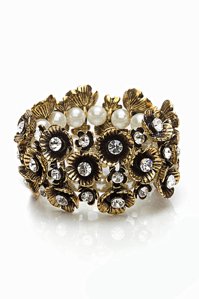 Svvelte Antique finish Floral Bangle/bracelet with Pearls and Swarovksi, Women Bracelet, Svvelte - Svvelte
