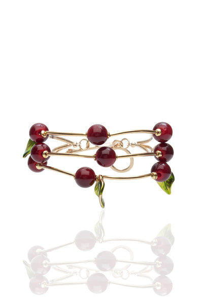 Svvelte Gold Toned Red Cherry and Leaf Bangle/Bracelet, Women Bracelet, Svvelte - Svvelte