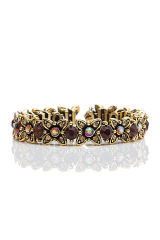 Svvelte Antique Finish Floral Bangle/Bracelet with Swarovksi, Women Bracelet, Svvelte - Svvelte