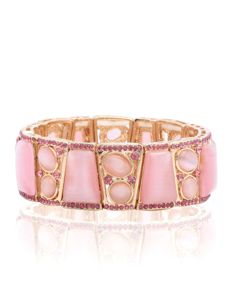Svvelte Gold Toned Pink Bangle/Bracelet with Swarovksi and Stones, Women Bracelet, Svvelte - Svvelte
