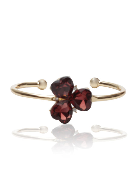Svvelte Gold Toned Red Floral Bangle/Bracelet with Heart Shape Stones, Women Bracelet, Svvelte - Svvelte