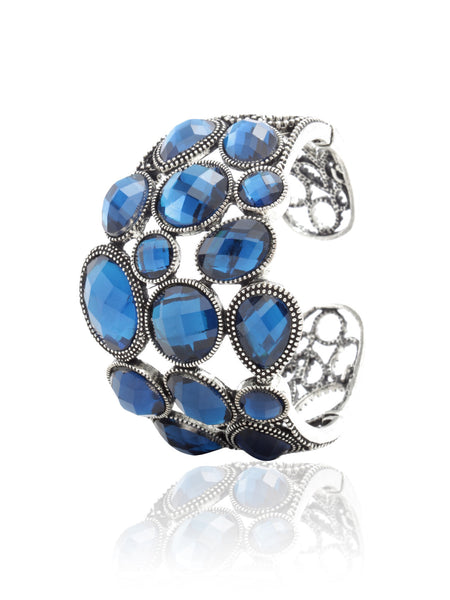 Svvelte Silver Toned Blue Bangle/Bracelet with Swarovksi elements, Women Bracelet, Svvelte - Svvelte
