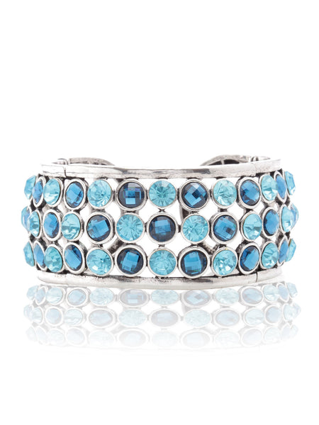 Svvelte Silver Toned Blue Bangle/Bracelet with Swarovksi, Women Bracelet, Svvelte - Svvelte