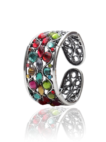 Svvelte Silver Toned Multi colour Swarovksi Bangle/Bracelet, Women Bracelet, Svvelte - Svvelte