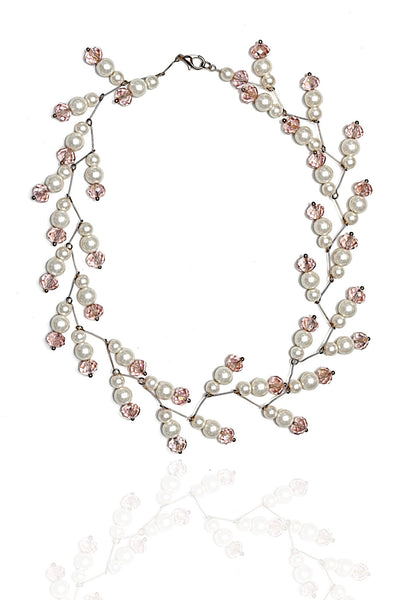 Svvelte White Pearl and Pink Stone designer Chain, Women Chain, Svvelte - Svvelte