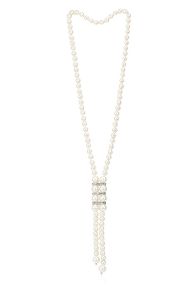 Svvelte White Pearl Chain with Zircons, Women Chain, Svvelte - Svvelte