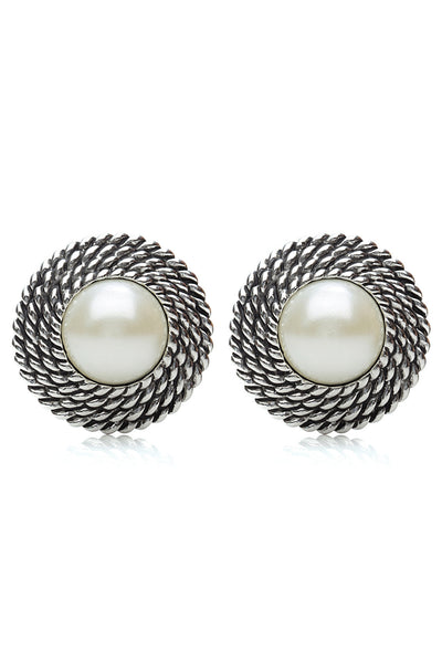 Svvelte Silver toned Spiral Designed Earings with Pearl., Women Earring, Svvelte - Svvelte