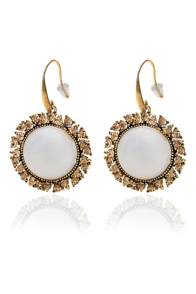 White and Antique Finish Earings from Svvelte with Swarovksi Elements, Women Earring, Svvelte - Svvelte
