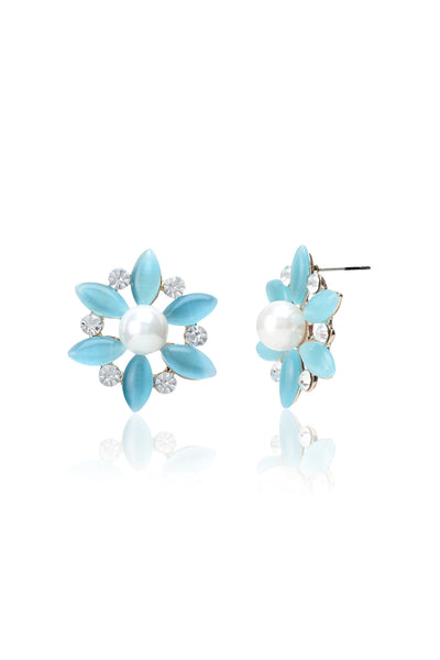 Svvelte Blue Floral Earrings with Swarovski, Women Earring, Svvelte - Svvelte