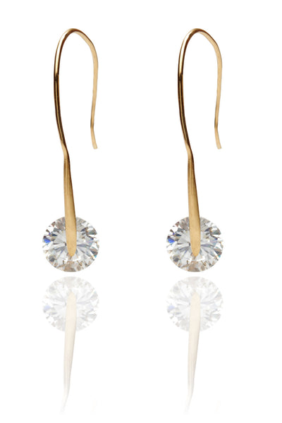Svvelte Gold Toned wired Danglers with a circular Swarovksi element., Women Earring, Svvelte - Svvelte