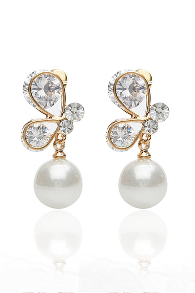 Svvelte Gold Toned Earings in Butterfly Design with Swarovksi elements and Pearl, Women Earring, Svvelte - Svvelte