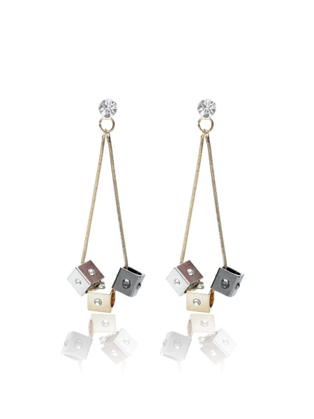 Svvelte Three toned Earing with Swarovksi elements, Women Earring, Svvelte - Svvelte