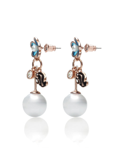 Svvelte Gold toned Floral Earings with Swarovksi and Pearl, Women Earring, Svvelte - Svvelte