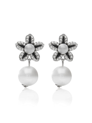 Svvelte Silver toned Floral Designed Earings with Swarovksi elements and Pearl., Women Earring, Svvelte - Svvelte