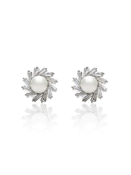 Buy Women Earring, Named Svvelte Silver toned Earings in Circular shape with Swarovksi elements and Pearl., from Svvelte, for Rs. 26.99