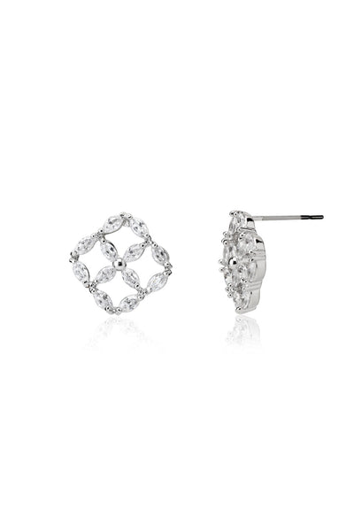 Svvelte Silver Toned Diamond Shaped Earrings, Women Earring, Svvelte - Svvelte