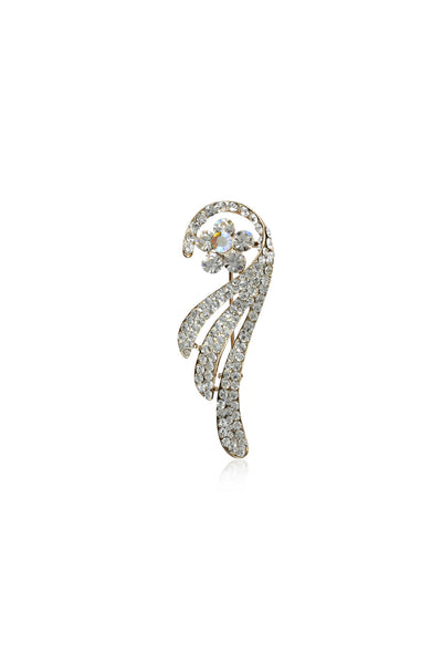 Buy Brooches, Named Svvelte Feather Shaped brooch with Swarovski, from Svvelte, for Rs. 26.99