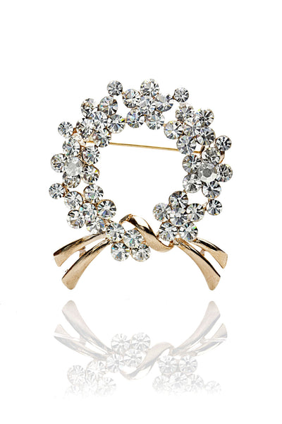 Buy Brooches, Named Svvelte Gold toned Circular shaped Brooch with Swarovksi elements, from Svvelte, for Rs. 24.99
