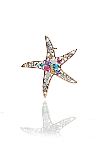 Svvelte Gold Toned Swarovksi and Stone Star Designed  Brooch, Brooches, Svvelte - Svvelte