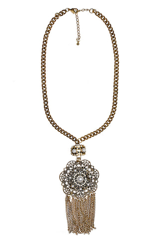 Svvelte Antique Finish Chain with Stone and pearl pendant, Women Chain and Pendant, Svvelte - Svvelte