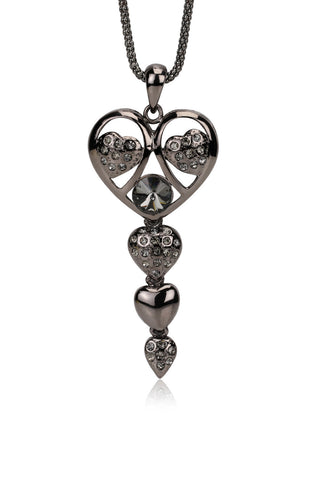 Svvelte Multiple Hearts Chain and Pendant with Swarovski, Women Chain and Pendant, Svvelte - Svvelte