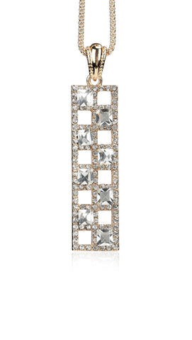 Svvelte Rectangular Pendant and Chain with Swarovski, Women Chain and Pendant, Svvelte - Svvelte