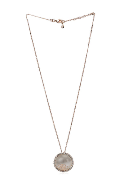Svvelte Gold toned Stone with a Flower Chain with Pendant, Women Chain and Pendant, Svvelte - Svvelte