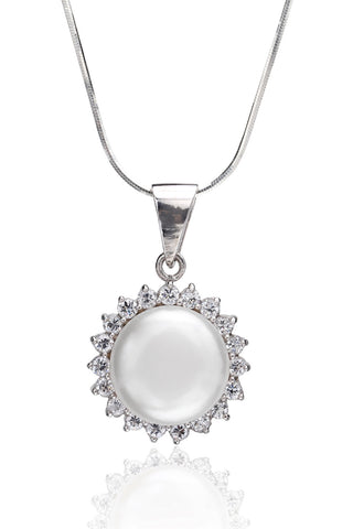 Svvelte Silver Pearl Pendant with Chain, Women Chain and Pendant, Svvelte - Svvelte