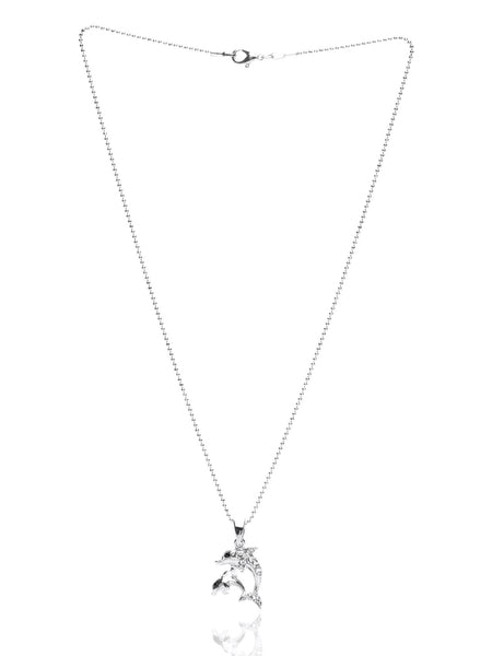 Svvelte Silver Toned Dolphin Shaped Chain pendant with Swarovksi, Women Chain and Pendant, Svvelte - Svvelte