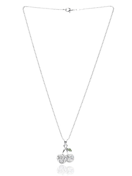 Svvelte Silver Toned Cherry Shaped Chain pendant with Swarovksi, Women Chain and Pendant, Svvelte - Svvelte