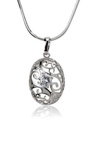Svvelte Silver toned Oval Shaped Chain with Pendant, Women Chain and Pendant, Svvelte - Svvelte