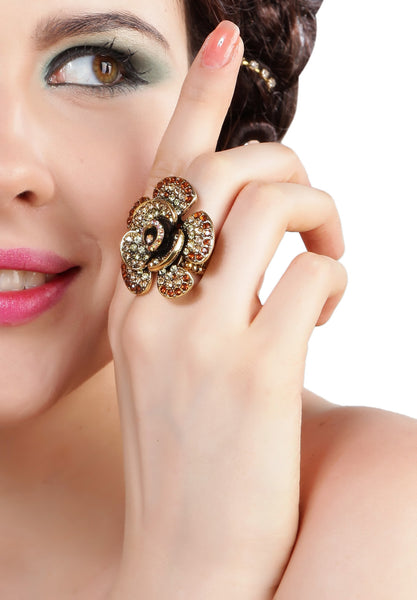 Buy Women Ring, Named Svvelte Floral Ring with Swarovski, from Svvelte, for Rs. 22.99