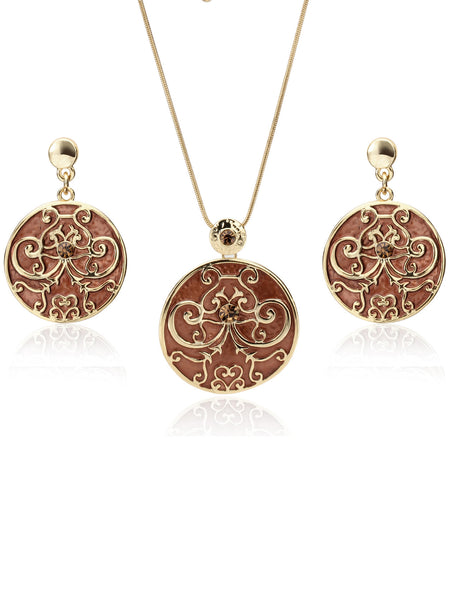 Buy Women Set, Named Svvelte Gold Toned and Brown Jewellery Set, from Svvelte, for Rs. 45.99