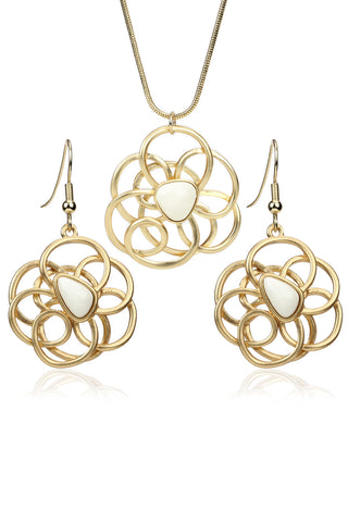 Svvelte Gold Toned Set with a unique Floral Design, Women Set, Svvelte - Svvelte