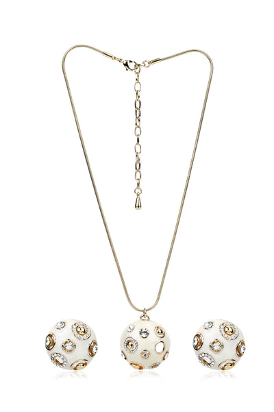 Buy Women Set, Named Svvelte Gold Toned Uniquely Designed Off White Set with Swarovski, from Svvelte, for Rs. 44.99