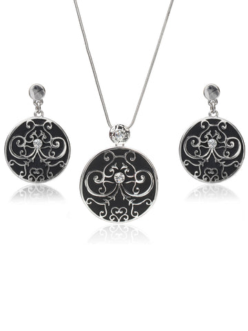 Svvelte Silver Toned and Black Jewellery Set, Women Set, Svvelte - Svvelte