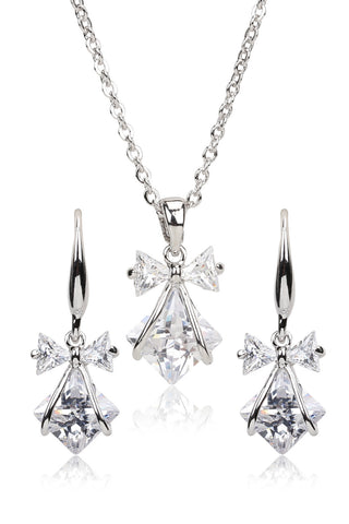 Svvelte 14K White Gold Plated Austrian Stellux Crystal Set, Women Set, Svvelte - Svvelte