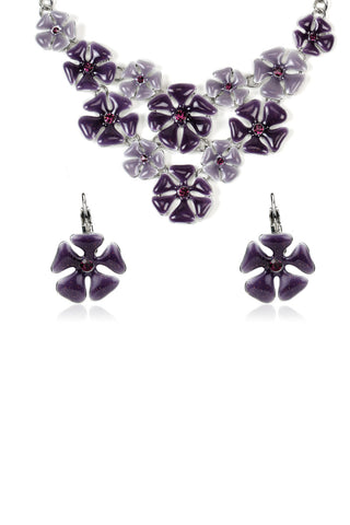 Svvelte Silver Toned Purple Floral Set with Swarovski, Women Set, Svvelte - Svvelte