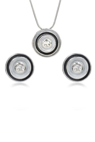 Svvelte Silver Toned Grey Set with Swarovski, Women Set, Svvelte - Svvelte