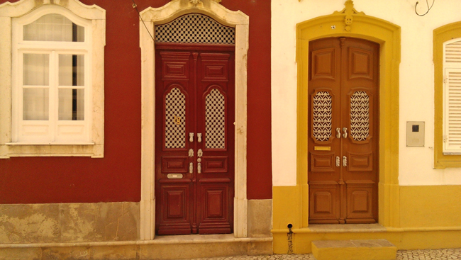 Traditional doors and handles, remnants of the Moors, Olhao, Algarve District, Portugal