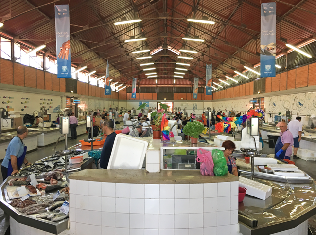 Inside Olhao fish market, Olhao, Algarve District, Portugal