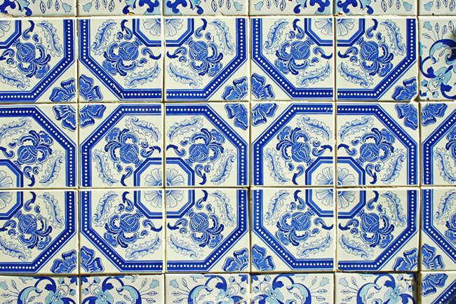 Typical Portuguese tiles, Olhao, Algarve District, Portugal