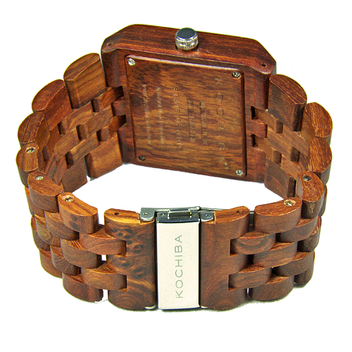 Mens Baymore Red Sandal Wood watch buckle