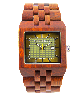 Mens Baymore Red Sandal Wood watch face