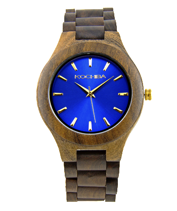 Egyptian Blue Laro sandal Wood watch face